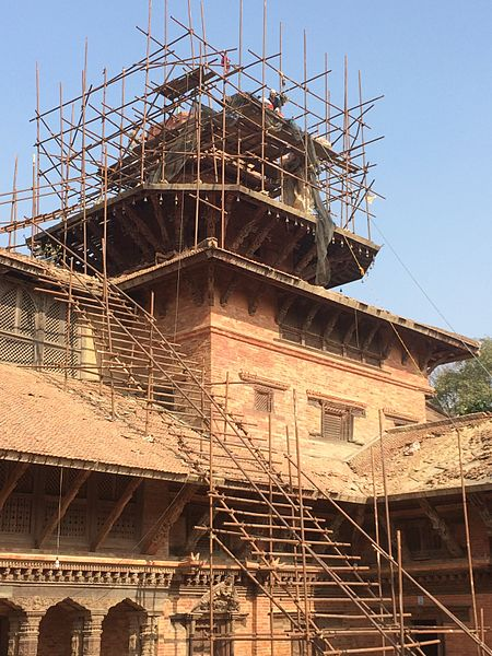 Reconstruction of one of the temple at Patan Durbar Square, Nepal after the earthquake in 2015