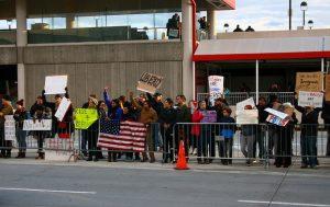 Muslim Ban Protest at Hartsfield–Jackson Airport in Atlanta, Jan 29, 2017 (copyright: tani.P, CC BY-SA 2.0)